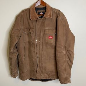 Dickie's brown distressed quilted chore jacket M